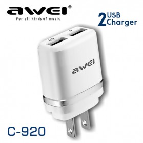 AWEI USB Travel Charger 2 Port 2.1A US Plug - C-920 - White/Black - 3