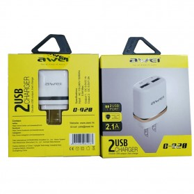 AWEI USB Travel Charger 2 Port 2.1A US Plug - C-920 - White/Black - 5