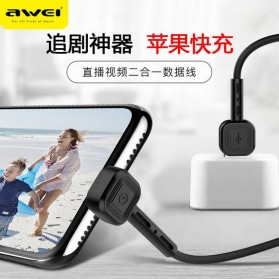 AWEI Kabel Charger Lightning & Phone Stand - CL-65 - Black - 2