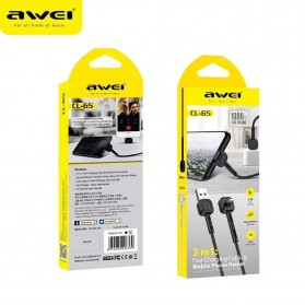 AWEI Kabel Charger Lightning & Phone Stand - CL-65 - Black - 3