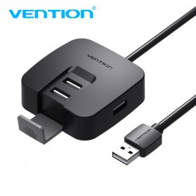 Vention USB Hub 2.0 4 Port dengan Micro USB Power Supply - Black