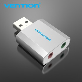 Vention External USB Sound Card AUX 3.5mm & Microphone - Silver - 5