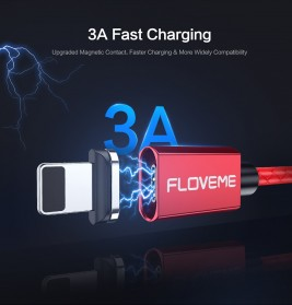 Floveme Kabel Charger Magnetic Head Micro USB 3A 1 Meter - AM18 - Black - 8
