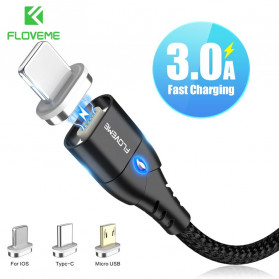Floveme Kabel Charger Micro USB Magnetic Head 3A 1 Meter - FL3 - Black - 2