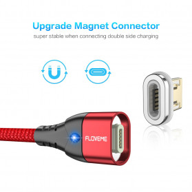 Floveme Kabel Charger USB Type C Magnetic Head 3A 1 Meter - FL3 - Black - 9