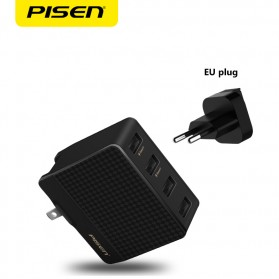 Pisen Travel Charger USB 4 Port 2.4A+1.5A - Black