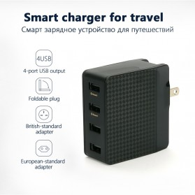 Pisen Travel Charger USB 4 Port 2.4A+1.5A - Black - 2