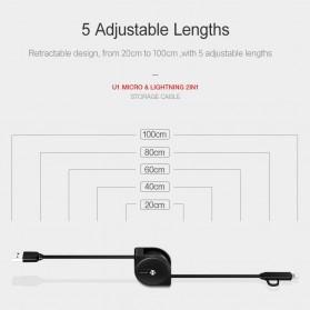 USAMS Kabel Charger Retracable Lightning & Micro USB 1 Meter - US-SJ192 - Black - 3