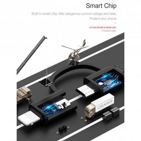 USAMS Kabel Charger Retracable Lightning & Micro USB 1 Meter - US-SJ192 - Black - 5