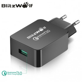BlitzWolf Charger USB 1 Port Quick Charge 3.0 18W 3A - BW-S5 (backup) - Black