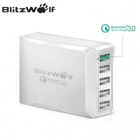 BlitzWolf Charger USB 5 Port Quick Charger 3.0 4.4A - BW-S7 (backup) - White