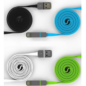 Kabel USB Duo 2 in 1 Lightning & Micro USB - Blue