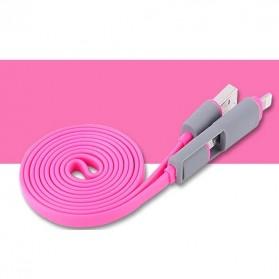 Kabel USB Duo 2 in 1 Lightning & Micro USB - Split Back Model - Magenta