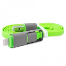 Kabel USB Duo 2 in 1 Lightning & Micro USB - Split Back Model - Green