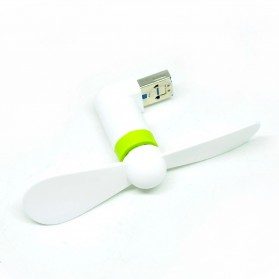 Micro USB OTG Mini Portable Fan for Android Smartphone / Laptop / PC - White/Green