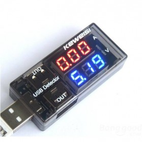Double USB Detector Power Current and Voltage Tester - Black