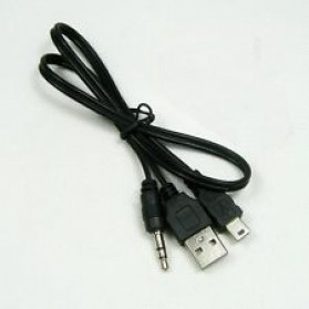 Kabel Adapter Audio Mini USB ke USB & 3.5mm - Black - 3