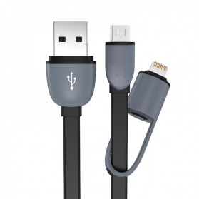 Kabel USB 2 in 1 Lightning & Micro USB Untuk Android / iOS 11 - Black
