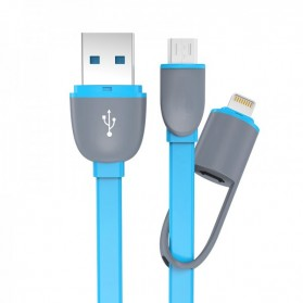 Kabel USB 2 in 1 Lightning & Micro USB Untuk Android / iOS 10 - Blue