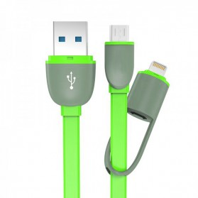 Kabel USB 2 in 1 Lightning & Micro USB Untuk Android / iOS 11 - Green
