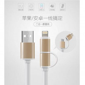 Laptop / Notebook - 2 in 1 Duo Magic Metal Head Cable Lightning and Micro USB Cable 1.8A for Android / iOS 11 - Golden