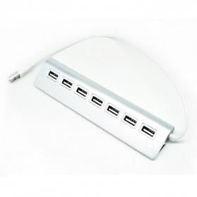 Metal USB 2.0 to USB 2.0 Hub Adapter 7 Port - Silver