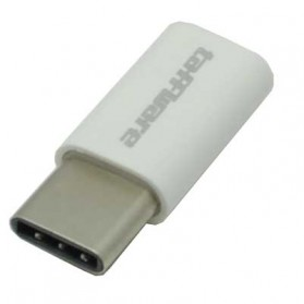 Taffware Plastic Fitting Micro USB to USB 3.1 Type C Adapter Converter - US173 - White