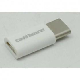 Taffware Plastic Fitting Micro USB to USB 3.1 Type C Adapter Converter - US173 - White - 2