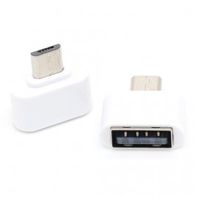 Mini OTG Adapter Micro USB ke USB Female - V8 - White