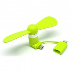 Kipas Mini Portable Lightning + Micro USB - Green
