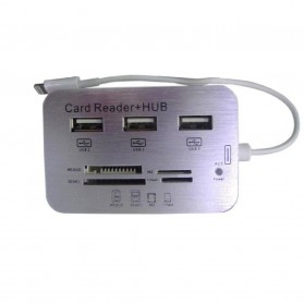 Lightning USB OTG Combo 2.0 USB HUB + Card Reader for Ipad 4/ Ipad Mini - White