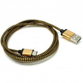Kabel Micro USB Braided Emas 1 Meter - Golden