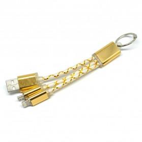 Kabel Fiber Key Ring 2 in 1 Micro USB & Lightning - Golden