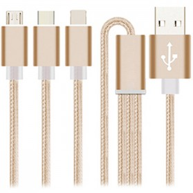 Kabel Braided 3 in 1 Type C + Micro USB + Lightning - Golden