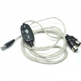 Kabel Konverter PC ke Keyboard USB MIDI 5-Pin - Black - 2