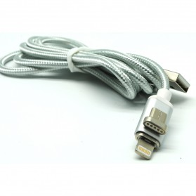 2 in 1 Kabel Charger Braided Magnetic Micro USB & Lightning for Smartphone - Silver - 4