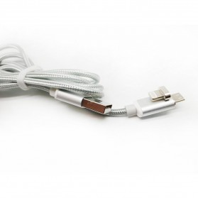 2 in 1 Kabel Charger Braided Magnetic Micro USB & Lightning for Smartphone - Silver - 5
