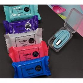 Kabel Micro USB Permen 20cm - Sky Blue - 3