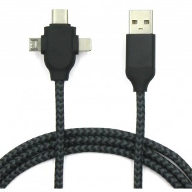 Kabel Charger 3 in 1 Type C/Micro USB/Lightning - X1 - Black