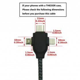 Kabel Charger 3 in 1 Type C/Micro USB/Lightning - X1 - Black - 5