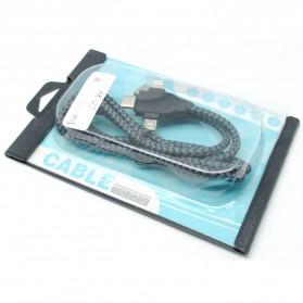 Kabel Charger 3 in 1 Type C/Micro USB/Lightning - X1 - Black - 6