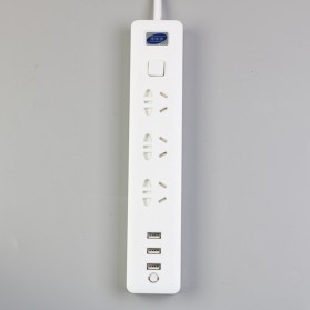 Powerstrip 3 USB Port + 3 Electric Plug dengan LED Indikator - White