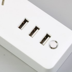 Powerstrip 3 USB Port + 3 Electric Plug dengan LED Indikator - White - 2