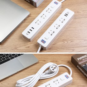 Powerstrip 3 USB Port + 3 Electric Plug dengan LED Indikator - White - 11