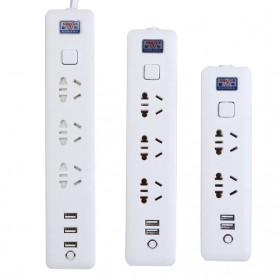 Powerstrip 3 USB Port + 3 Electric Plug dengan LED Indikator - White - 15