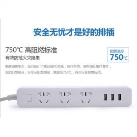 Kinco Powerstrip 3 USB Port + 3 Electric Plug - KU03 - White - 2