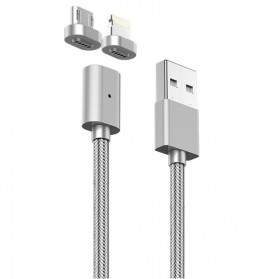 Kabel Charger Magnetic 2 in 1 Micro USB & Lightning - Silver - 2