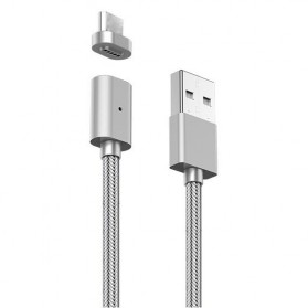 USLION Kabel Charger Magnetic Head USB Type C 1 Meter - AM17 - Silver - 2