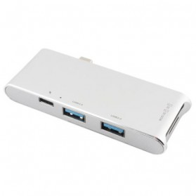 USB Type-C Hub 6 in 1 with Pass-through Charging - YC-204 - Silver - 2