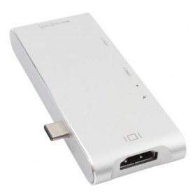 USB Type-C Hub 6 in 1 with Pass-through Charging - YC-204 - Silver - 4